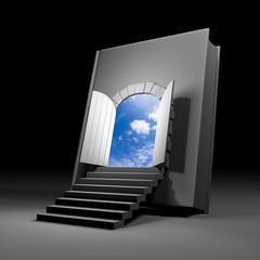 Book with door to future