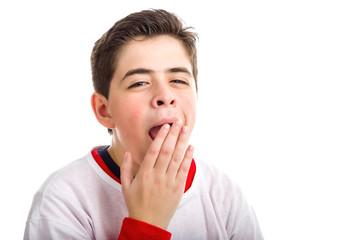Soft skinned boy yawning
