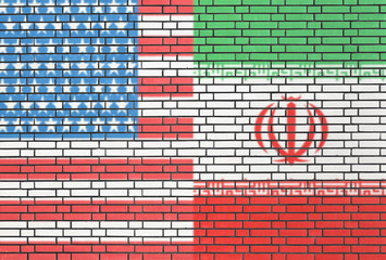 USA - Iran flags painted on wall