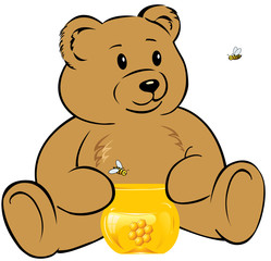 Teddy bear with a jar of honey and bees