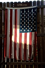 tattered american flag on fence