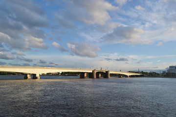 Alexander Nevsky Bridge at evening.