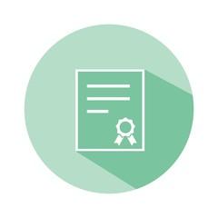 Icono certificado esmeralda botón sombra