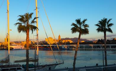 Port of Malaga in  sunny morning