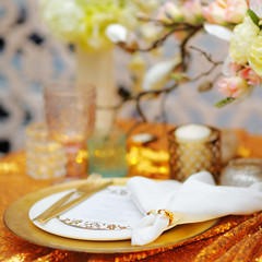 Stylish gold table set