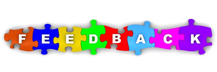 Обратная связь (feedback). Надпись на разноцветных пазлах