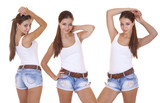 Collage, Beautiful cheerful teen girls in blue jean shorts