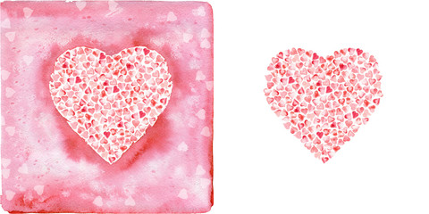 Hearts. Watercolor painting.
