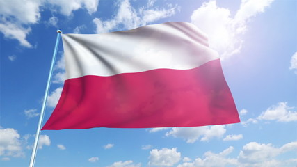 Poland flag with fabric structure against a cloudy sky (loop)