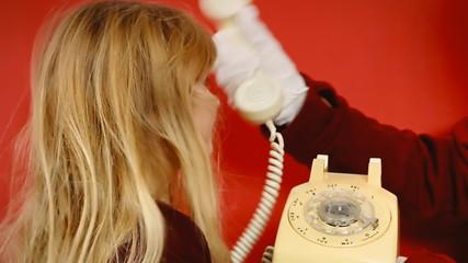 Little girl vintage telephone butler answer