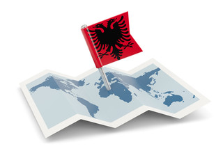 Map with flag of albania