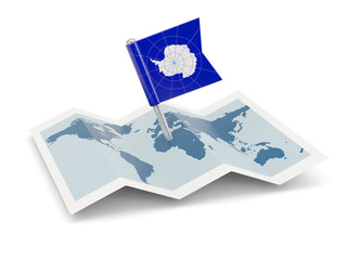 Map with flag of antarctica
