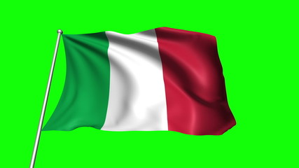 Italy flag with fabric structure (loop, green background)