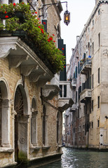 balcony and flowers in Venice in Italy