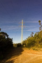 Moon Shining Through Electric Poles on Sunny Day
