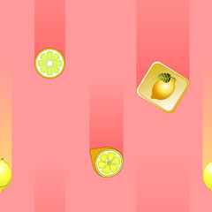 Pattern with falling lemons on a pink background.
