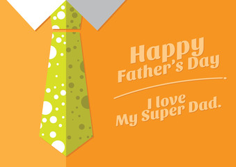 color necktile happy father's day card illustration