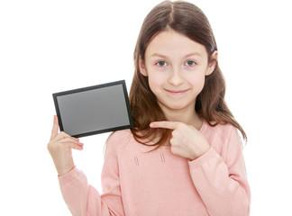 Little girl holding a gray card
