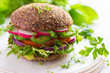 Healthy fast food. Vegan rye burger with fresh vegetables - 80996653