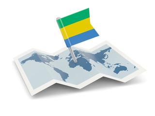 Map with flag of gabon