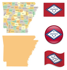 High Detailed Map of Arkansas  With Flag Icons