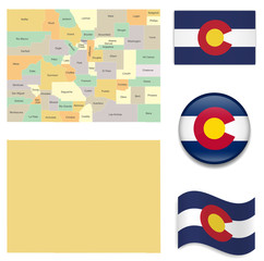 High Detailed Map of Colorado  With Flag Icons