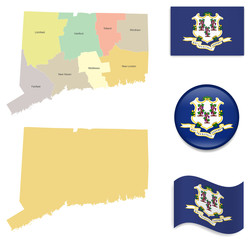 High Detailed Map of Connecticut  With Flag Icons