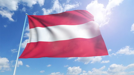 Austria flag with fabric structure against a cloudy sky (loop)