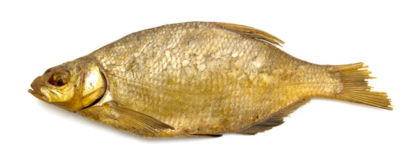 Smoked bream fish on a white background