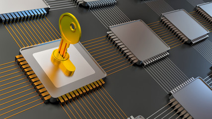 3d illustration of encoded chip and many others