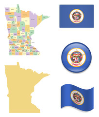 High Detailed Map of Minnesota  With Flag Icons