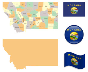 High Detailed Map of Montana  With Flag Icons