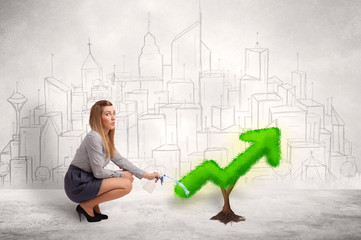 Business woman watering green plant arrow