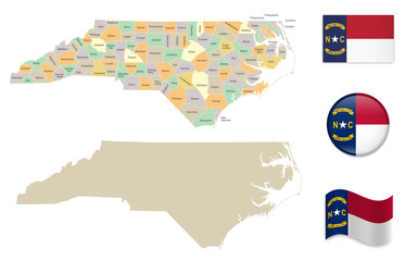 High Detailed Map of North Carolina With Flag Icons