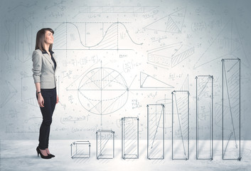 Business woman climbing up on hand drawn graphs concept