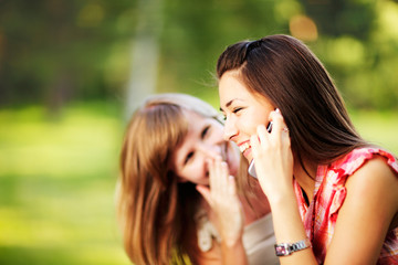 Young women on cell phone.
