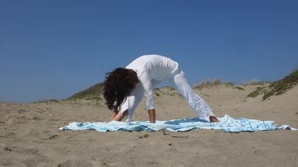 Utthita Parsvakonasana, woman practicing Yoga side angle pose