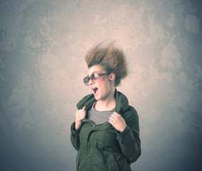 Extreme hair style young woman portrait