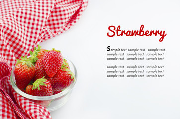 strawberry in bowl and red napkin with sample text