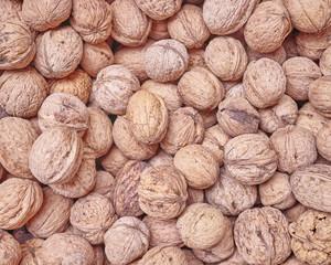 organic walnuts closeup at the local market