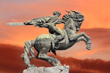 Yerevan, monument David of Sasun - hero of armenian epos