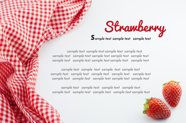 strawberry and red napkin with sample text