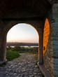 Small gate in Kalemegdan fortress walls at sunset, Belgrade
