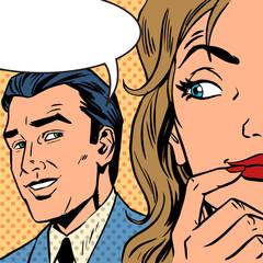 man calls woman retro style comic Pop art vintage