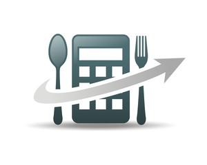 spoon arrows calculator logo vector