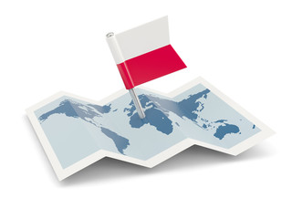 Map with flag of poland