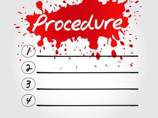 Procedure blank list, business concept