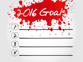 2016 Goals blank list, business concept