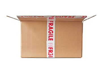 fragile, open cardboard box