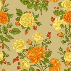 Seamless pattern wit roses.